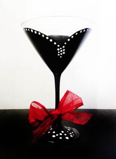 audrey martini – black and white – hand painted – red ribbon   Durban Decor
