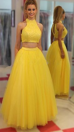 Prom Dress Beautiful, Two Piece Jewel Floor-Length Open Back Yellow Prom Dress with Beading, Discover your dream prom dress. Our collection features affordable prom dresses, chiffon prom gowns, sexy formal gowns and more. Find your 2020 prom dress Prom Dresses Two Piece, A Line Prom Dresses, Tulle Prom Dress, Cheap Prom Dresses, Homecoming Dresses, Evening Dresses, Party Dresses, Long Dresses, Prom Gowns