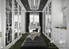 Projekt wnętrza garderoby glamour. - zdjęcie od ArtCore Design - Garderoba - Styl Glamour - ArtCore Design