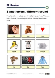 Image of Same letters, different sound factsheet