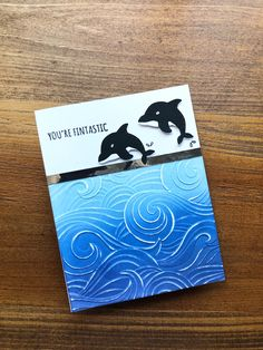Candice Crawford, Dolphin Craft, Memory Box Cards, Distress Oxide Ink, Animal Cards, Wave Pattern, Embossing Folder, Clear Stamps, Sharpie