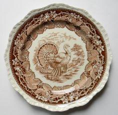 Mason's Vista Brown Transferware Turkey Plate Staffordshire China Thanksgiving Oak Leaves Ivy Border @ Nancy's Daily Dish