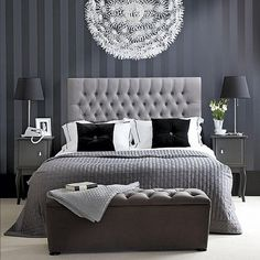 Elegant gray bedroom.