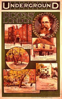 Poster 1999/30208 - Poster and Artwork collection online from the London Transport Museum. Dickens' London, by Sidney Thomas Charles Weeks , circa 1912. Published by Underground Electric Railway Company Ltd, circa 1912 Printed by Avenue Press Ltd, circa 1912
