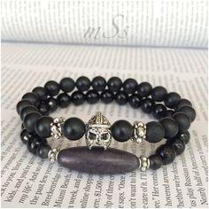 Gladiator Black Agate Gemstone Bracelet Set by mSsDdesigns on Etsy