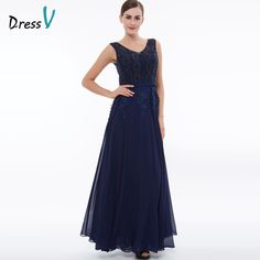Tanpell long v neck evening dress dark navy sleeveless appliques beaded a  line dresses women graduation prom formal evening gown c165fbf1c2e1