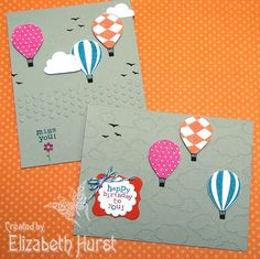 Playing around with one layer cards. Stampin' Up Cloudy Day embossing folder and Up, Up and Away stamp set.