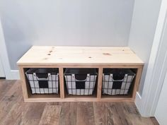 Every house needs a place for coats and shoes, and a mudroom needs a bench! This DIY mudroom bench is sure to fit in most spaces and wasn't too tricky! Entryway Bench Storage, Bench Mudroom, Diy Bench With Storage, Diy Bench Seat, Small Entry Bench, Small Bench Seat, Cubby Bench, Hallway Bench, Storage Benches