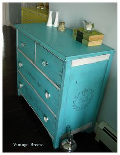 Vintage Breeze: Caribbean Blue Dresser ~FAT Paint~