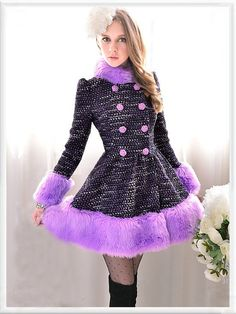 Morpheus Boutique  - Purple Knit Hair Collar Long Sleeve Double Breasted Lady Ruffle Overcoat, $169.99 (http://www.morpheusboutique.com/purple-knit-hair-collar-long-sleeve-double-breasted-lady-ruffle-overcoat/)