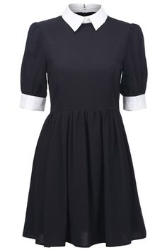 Retro Lapel Neck Black Dress - So Wednesday Addams! Get in my wardrobe you lovely thing.