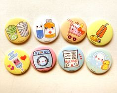 Add a cute decoration to your fridge with these kawaii housework magnet set! There will be 8 magnets in this set with the following: - Syringe - Pill & Pill case - Shopping Cart - Bill due - Washing machine - Dishwashing - Recycling & Trash Can - Vacuum The magnets are hand pressed w...