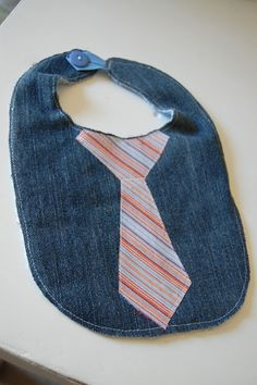 little boy's denim bib with tie