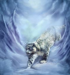 Snow Leopard Your life is now endangered With few places left to go No one could follow in your silent footsteps For you are a spirit of the snow.  Spirit Of The Snow 2 prose by Carol Cavalaris  This artwork of a snow leopard climbing in the snow is from the Spirit Of The Wild Big Cat Collection of art by Carol Cavalaris. Big Cats Art, Cat Art, Snow Leopard Drawing, Animals And Pets, Cute Animals, Creation Photo, Animal Totems, Animation, Wildlife Art