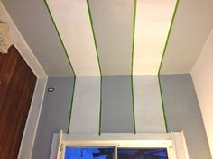 Geometric Triangle Wall Paint Design Idea with Tape - DIY for Life Tape Painting, Painting Wallpaper, Wall Wallpaper, Triangle Wall, Paint Stripes, Painters Tape, Flat Color, Paint Designs, Decoration