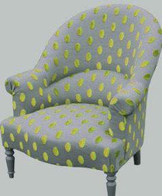 Fauteuil bois brut et tissu pois velours fauteuil pinterest r novation - Restauration fauteuil crapaud ...