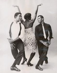 Alvin Ailey and Nathaniel Horne compete for the affections of Minnie Marshall in this dance from Alvin Ailey's Blues Suite, no. 14 From New York Public Library Digital Collections. Jerome Robbins, Lindy Hop, Alvin Ailey, New York Public Library, Still Image, Black History, Blues, Dance, Black And White