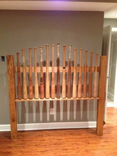 My husband and stepson made this awesome headboard from an idea I found on Pinterest.  I like this one even better!