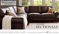Leather Sectionals & Leather Sectional Sofas   Pottery Barn #LeatherSectionalSofas