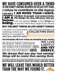 Collaborative Consumption Manifesto - share, less, reduce, be grateful