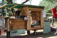 Mobile Kiosk from RelaxShacks.com, built from reclaimed scrap wood.