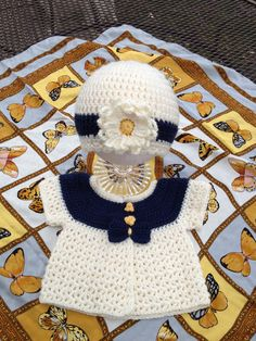 Crochet SWEATER and Hat -  Baby Crochet sets - Toddler Crop Sweater - Navy - 12-18 Months. $25.00, via Etsy.