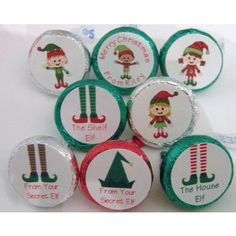Christmas Hershey Kisses Labels Elf Themed printed on .75 inch round laser gloss labels.