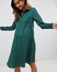0ddade779e98 Shop Glamorous Bloom skater shirt dress in dogtooth at ASOS.