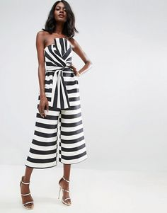 ASOS | ASOS Jumpsuit in Structured Stripe with Knot and Drape Detail