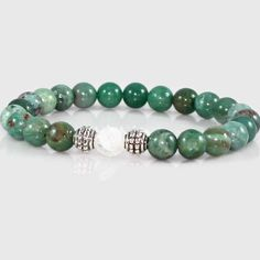 African Jade and Quartz Crystal Yoga Bracelet