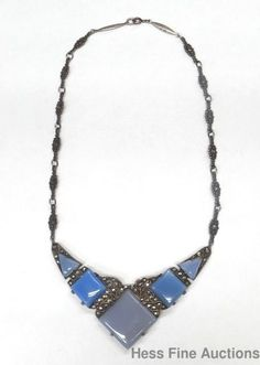 Antique 1920s Genuine Art Deco Sterling Silver Chalcedony Marcasite Necklace