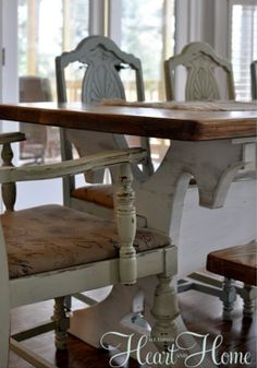 Recovering farm table chairs- how to make old chairs new again.