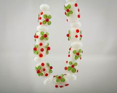Christmas Lampwork Bead Set in Red Green and by StateOfFusion