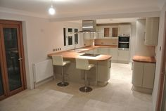 Complete redesign of kitchen and dining area at a property in Bridge, Canterbury. With a high specification finish, this bespoke installatio. Home Decor Kitchen, Rustic Kitchen, Kitchen Interior, New Kitchen, Home Kitchens, Open Plan Kitchen Dining Living, Open Plan Kitchen Diner, Kitchen Layout, Diy 2019