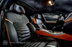 BMW 5 Series 'The Ripper' Custom Interior from Carlex Design - orange console carbon fiber grey black Best Car Interior, Custom Car Interior, Door Design Interior, Car Interior Upholstery, Automotive Upholstery, Jeep Seats, Car Seats, Bmw 535i, Sport Inspiration
