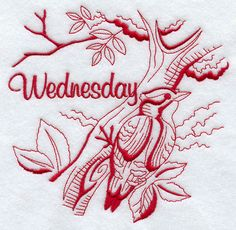 Machine Embroidery Designs at Embroidery Library! - Wednesday Woodpecker (Redwork)