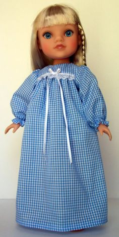 Gingham Nightgown for Hearts 4 Hearts Dolls by mothergoosedolls, $12.00