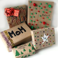 wrap presents with kids using dollar store materials