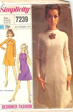 SIMPLICITY 7239 - FROM 1967 - UNCUT - MISSES DRESS DESIGNER FASHION