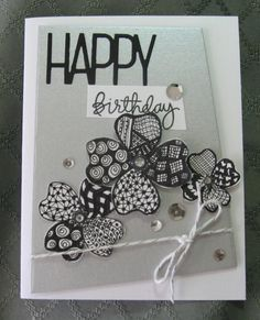 handmade card: Zentangled Birthday ... shades of gray ... luv the trio  simple flower shapes filled with doodled designs inside each petal ... fun card!