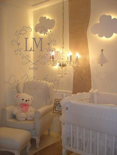 I love how the clouds light up for dim lighting Baby Bedroom, Baby Boy Rooms, Nursery Room, Girl Nursery, Girl Room, Girls Bedroom, Nursery Decor, Baby Decor, Kids Decor