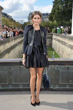edgy femme...Olivia Palermo jacket with leather accents outside Christian Dior Fashion Week Sept 2012