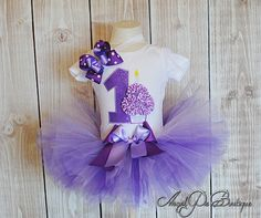 Baby Girl's First Birthday Outfit Number 1 by AngelPieBoutique