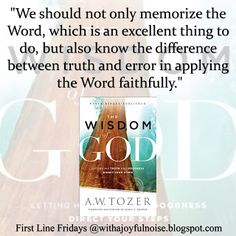 With a Joyful Noise: First Line Fridays and Review | The Wisdom of God