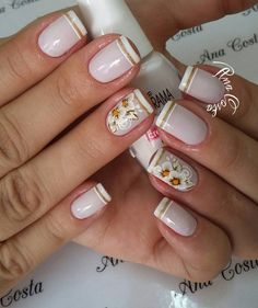 Ideias de Unhas decoradas com esmalte branco Pedicure Designs, Nail Art Designs, Fancy Nails, Pink Nails, Sunflower Nails, Wedding Manicure, Super Nails, Nail Decorations, Cool Nail Art