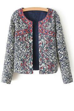 Ethnic Print Long Sleeves Coat
