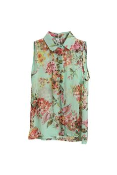 Flower printed green chiffon blouse