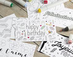10 jolies cartes à colorier et à offrir pour toutes occasions de la marque hoodoo. Happy Birthday, Happy Holidays, Neutral, Pretty Cards, Happy Aniversary, Happy B Day, Happy Birth Day
