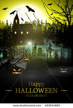 Happy Halloween Background.  #halloween #party #vector #invitation #scary #pumpkin #flyer #cemetery #spooky #mystery #eerie #horror