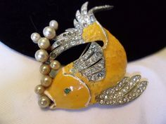 Art Deco Brooch Yellow Enamel Glass Rhinestone Tropical Fish Pearl Bubbles Pin in Jewelry & Watches, Vintage & Antique Jewelry, Costume, Art Nouveau/Art Deco 1895-1935, Pins, Brooches | eBay